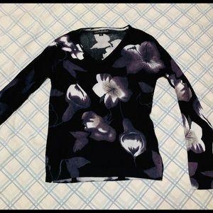 Pierre Black Flowered V Neck Long Sleeve Sweater